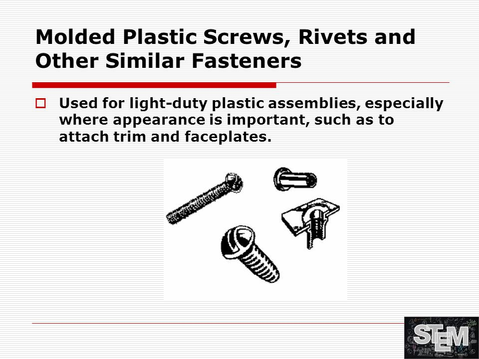 Molded Plastic Screws, Rivets and Other Similar Fasteners