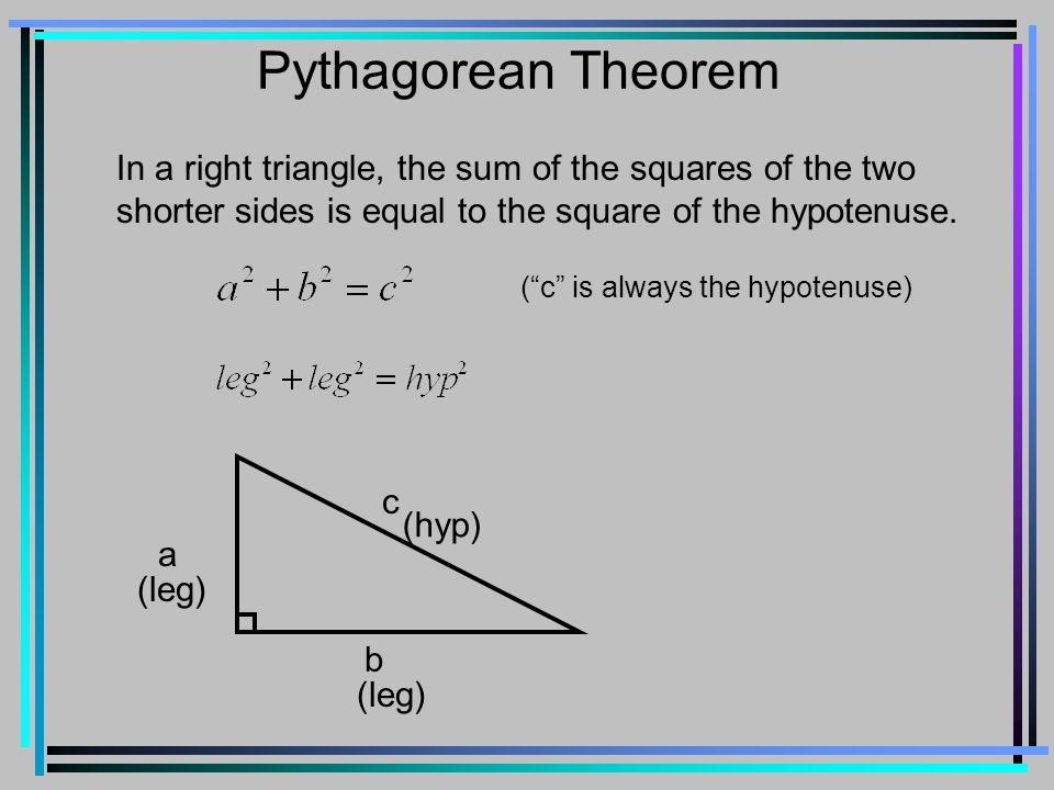 Pythagorean Theorem In a right triangle, the sum of the squares of the two shorter sides is equal to the square of the hypotenuse.