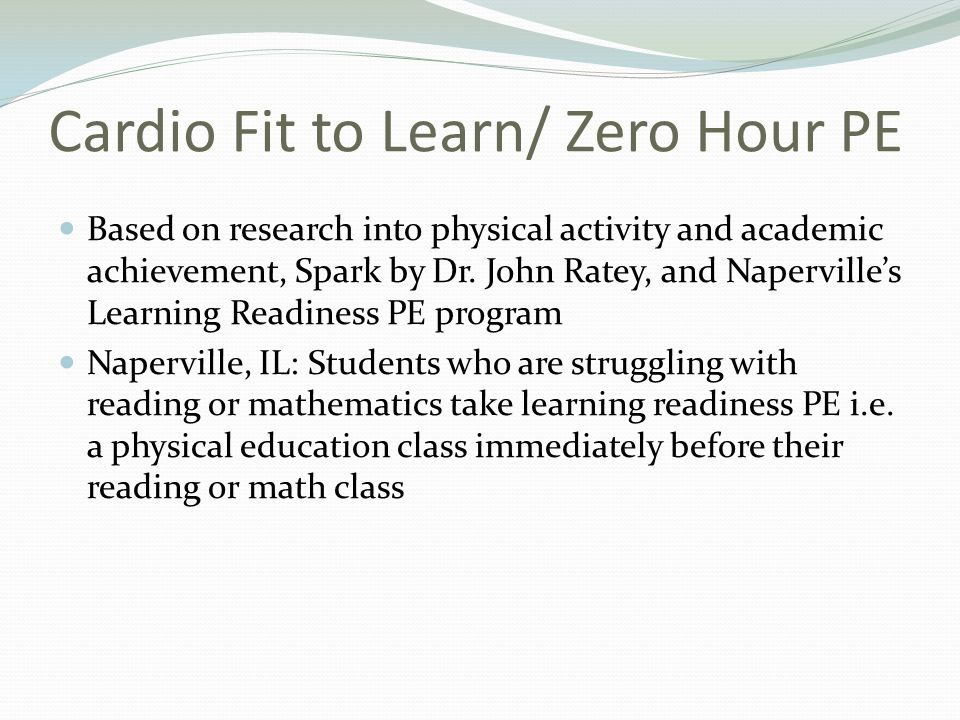 Cardio Fit to Learn/ Zero Hour PE