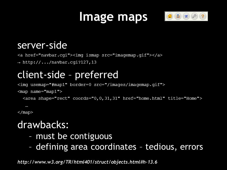 Image maps server-side client-side – preferred drawbacks: