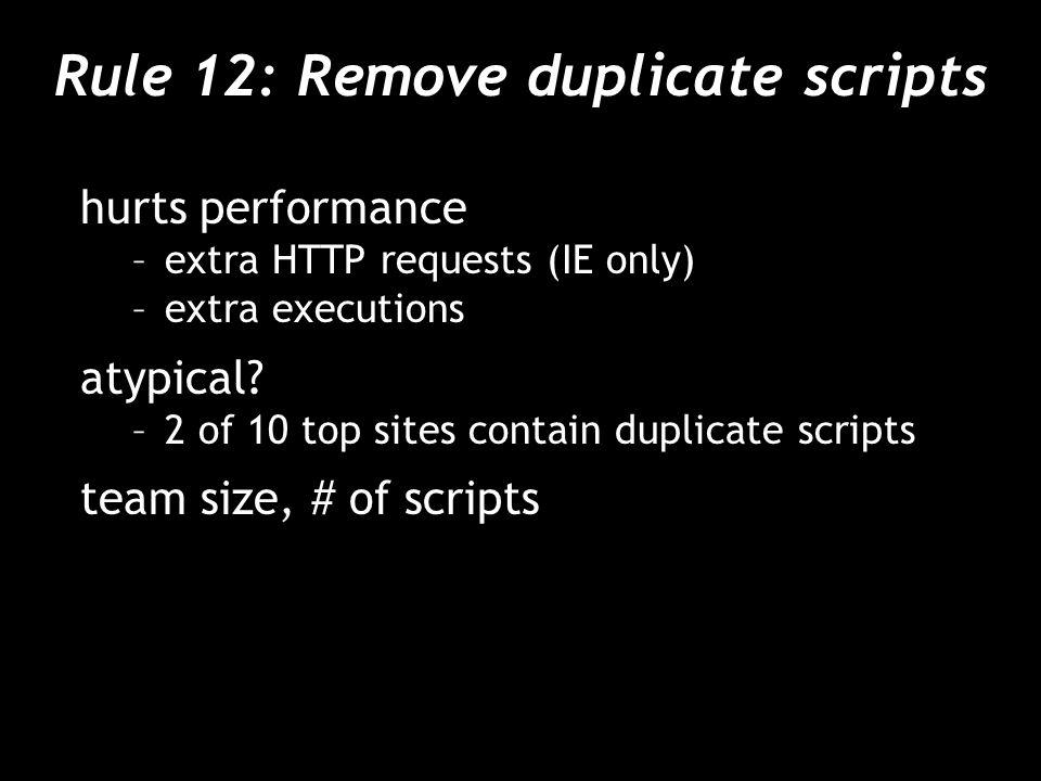 Rule 12: Remove duplicate scripts