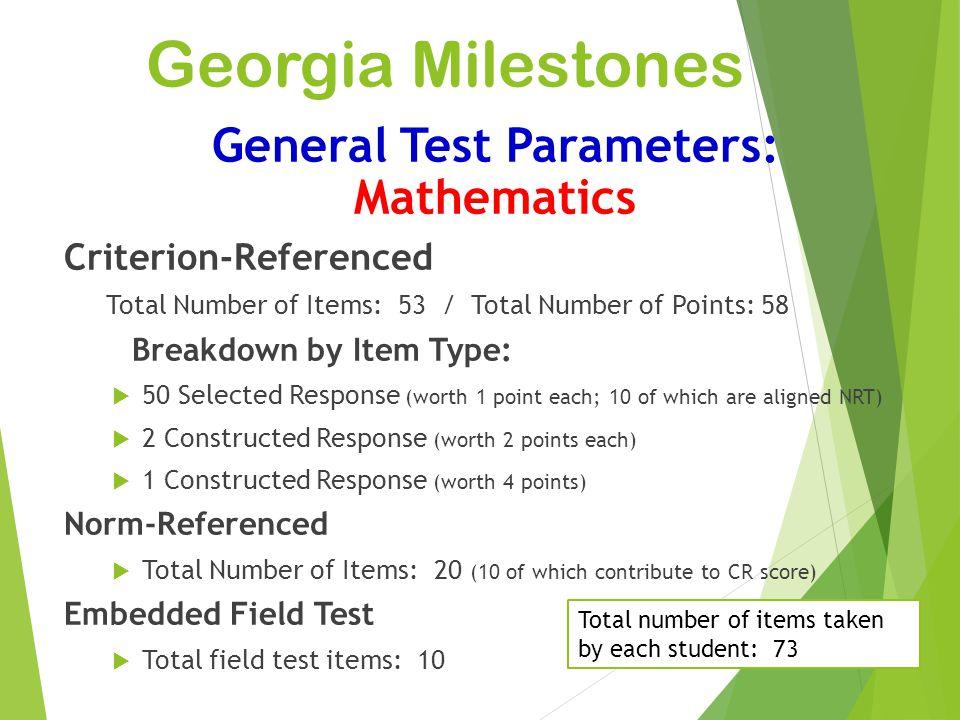 General Test Parameters: Mathematics