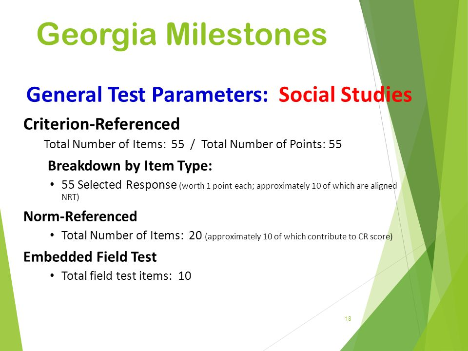 General Test Parameters: Social Studies
