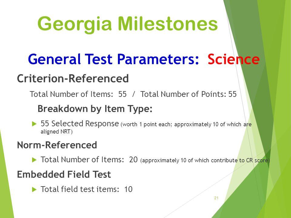 General Test Parameters: Science