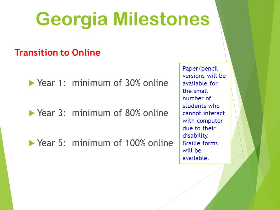 Georgia Milestones Transition to Online Year 1: minimum of 30% online