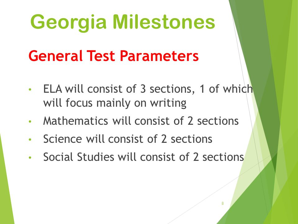 Georgia Milestones General Test Parameters