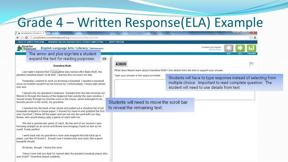 Grade 4 – Written Response(ELA) Example