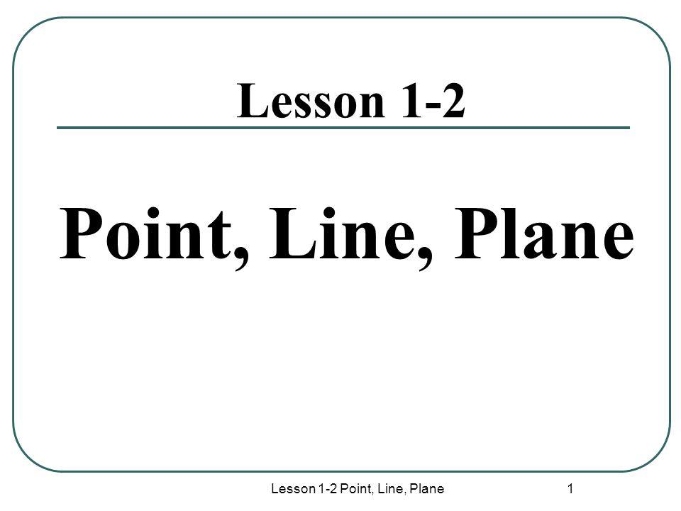 Lesson 1-2 Point, Line, Plane