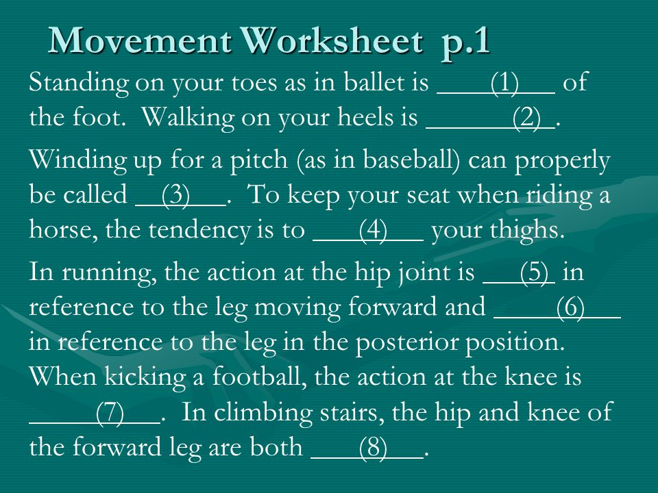 Movement Worksheet p.1