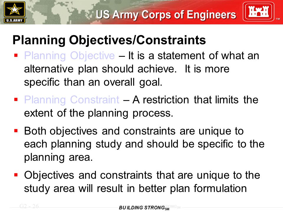 Planning Objectives/Constraints