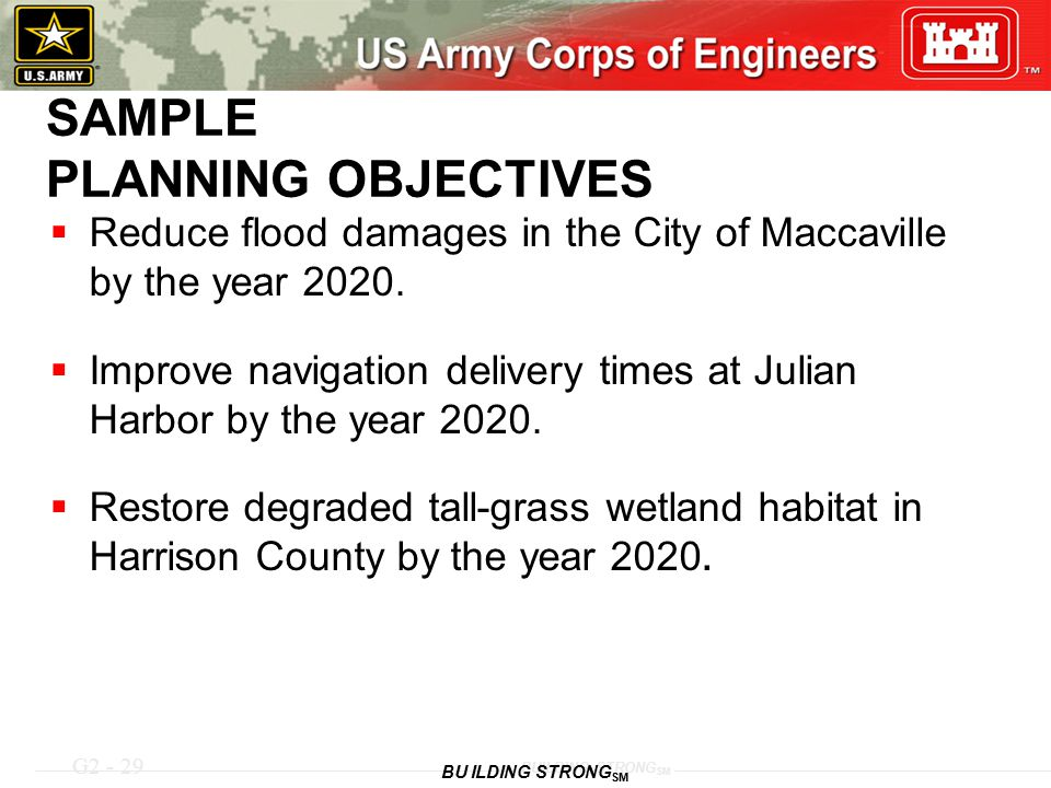 SAMPLE PLANNING OBJECTIVES