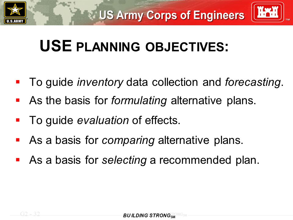 USE PLANNING OBJECTIVES: