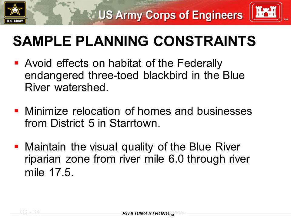 SAMPLE PLANNING CONSTRAINTS