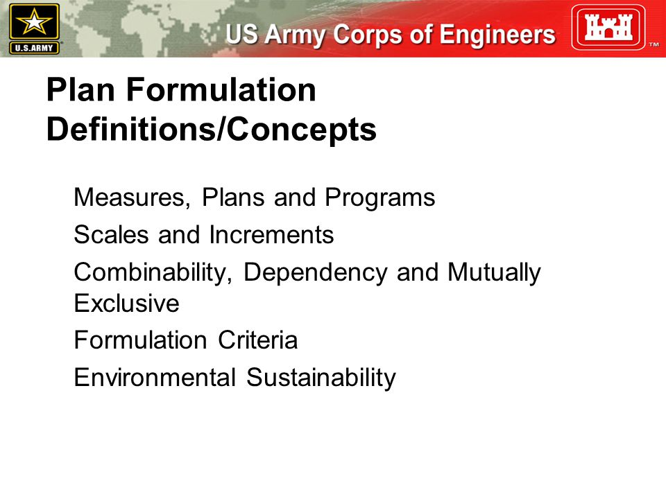 Plan Formulation Definitions/Concepts
