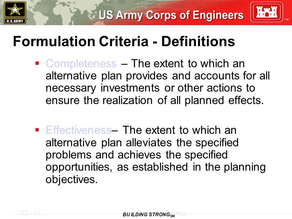 Formulation Criteria - Definitions