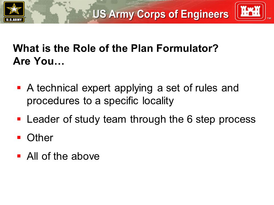 What is the Role of the Plan Formulator Are You…