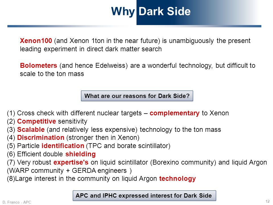 Why Dark Side Xenon100 (and Xenon 1ton in the near future) is unambiguously the present leading experiment in direct dark matter search.