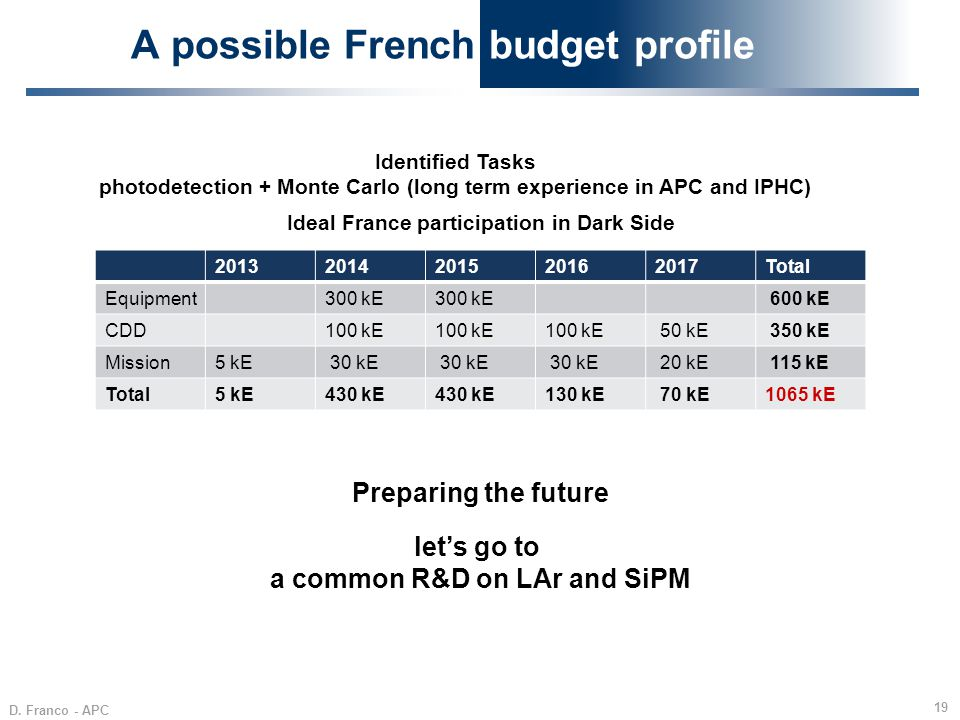 A possible French budget profile