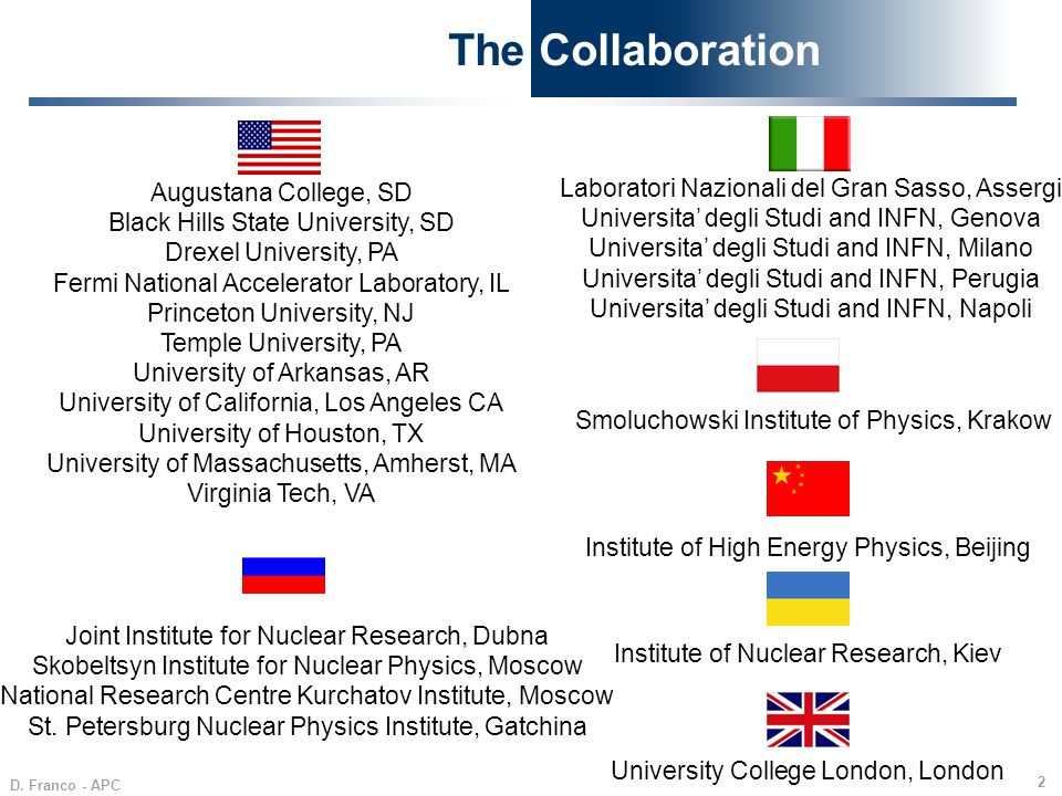 The Collaboration Laboratori Nazionali del Gran Sasso, Assergi
