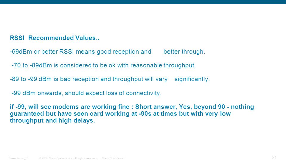 RSSI Recommended Values