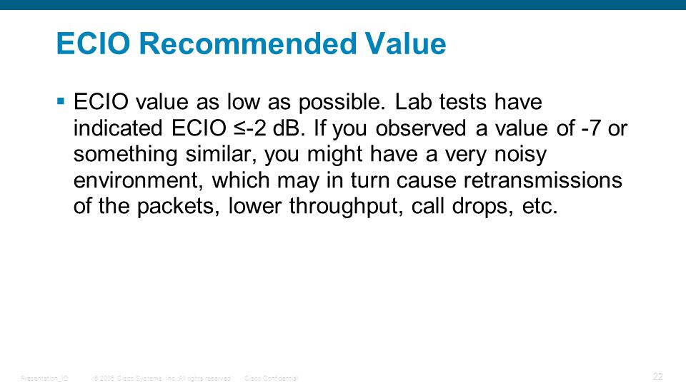 ECIO Recommended Value