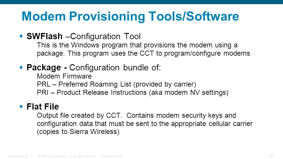 Modem Provisioning Tools/Software