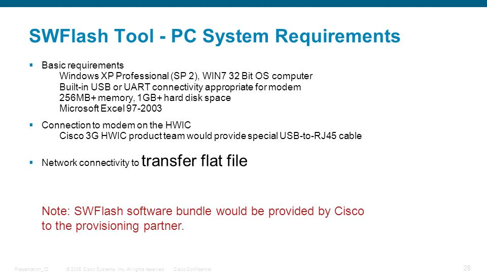 SWFlash Tool - PC System Requirements