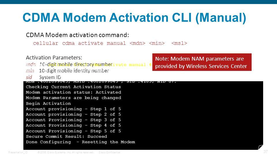CDMA Modem Activation CLI (Manual)