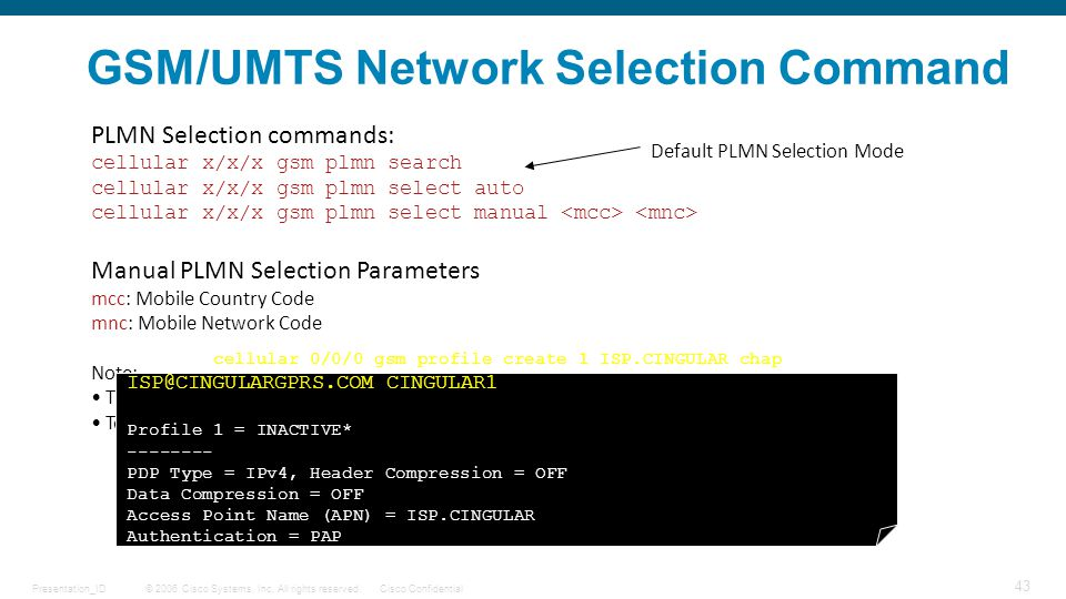 GSM/UMTS Network Selection Command