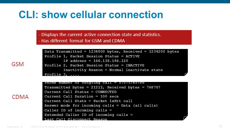 CLI: show cellular connection