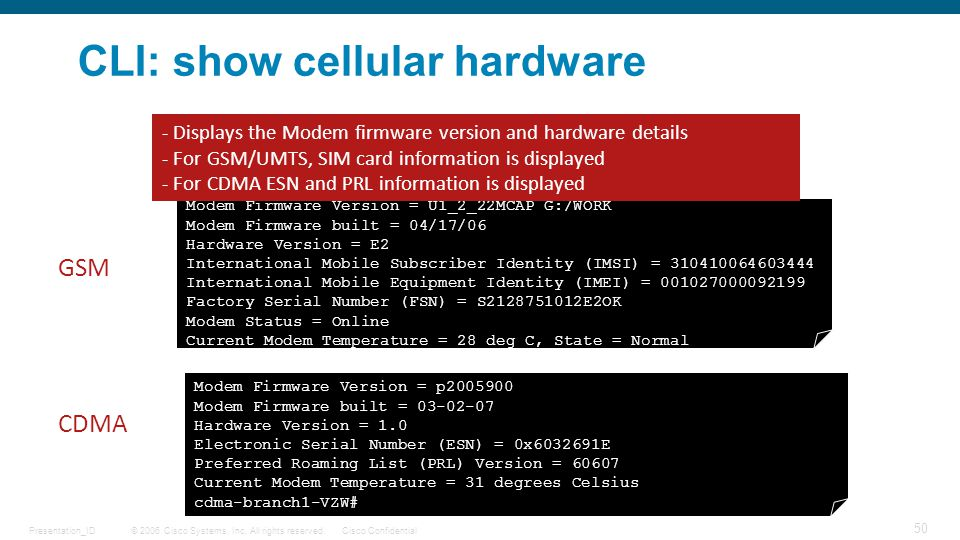 CLI: show cellular hardware