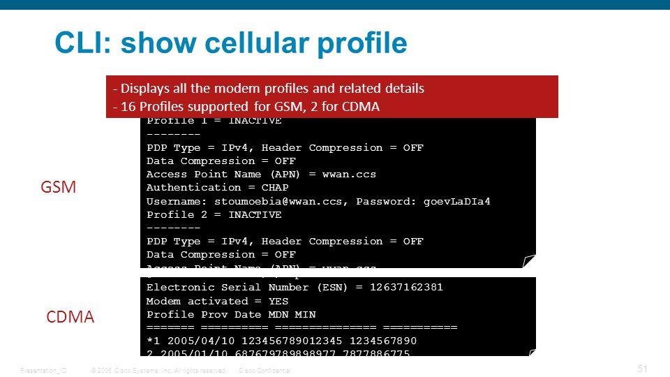 CLI: show cellular profile