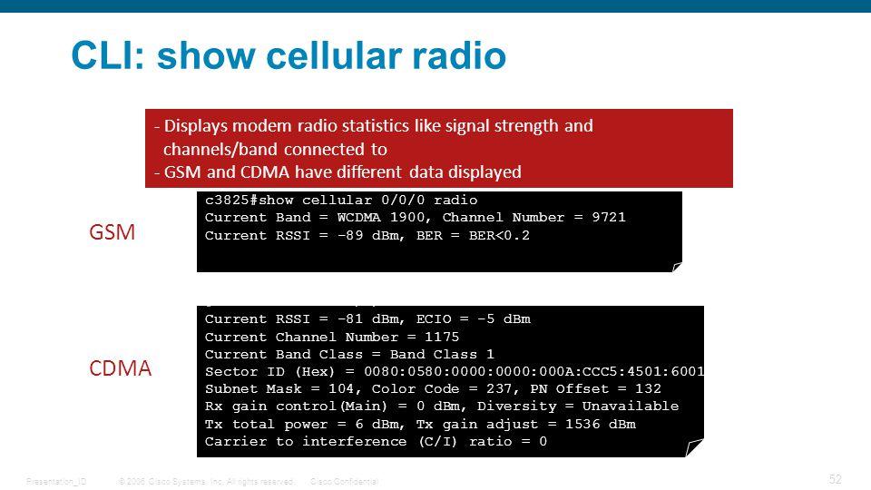 CLI: show cellular radio