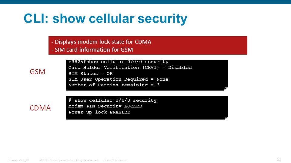 CLI: show cellular security