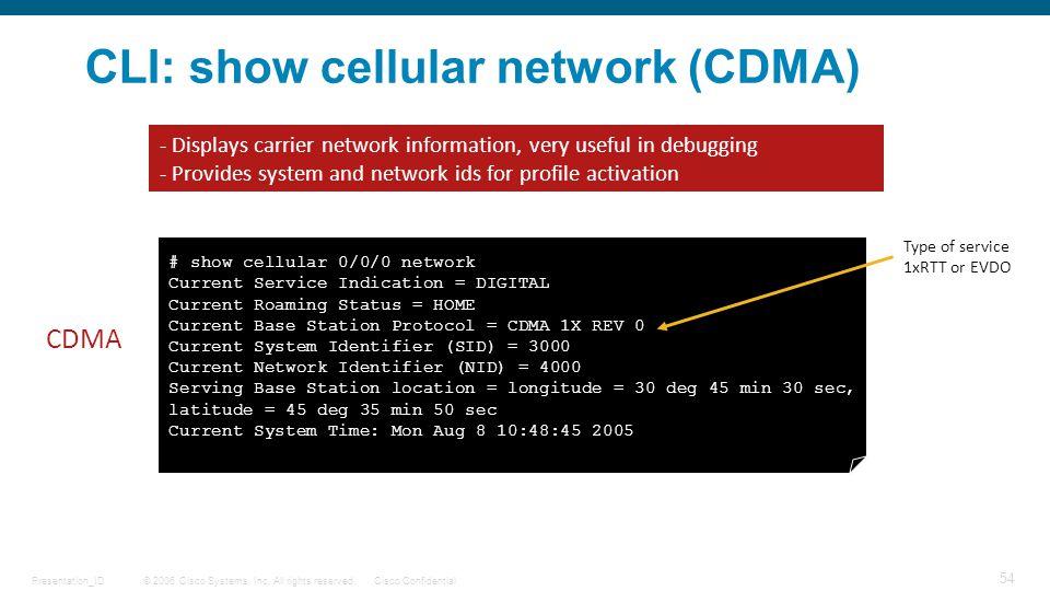 CLI: show cellular network (CDMA)