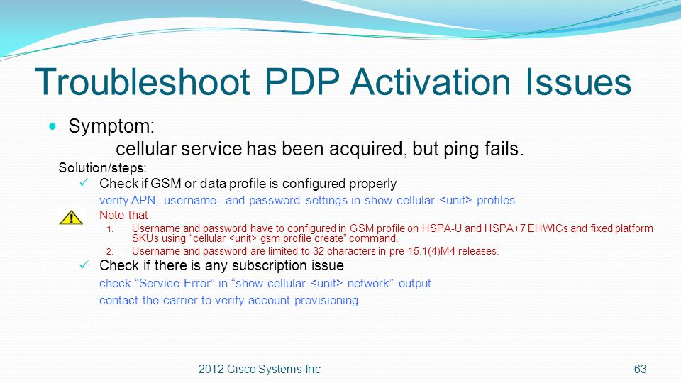 Troubleshoot PDP Activation Issues