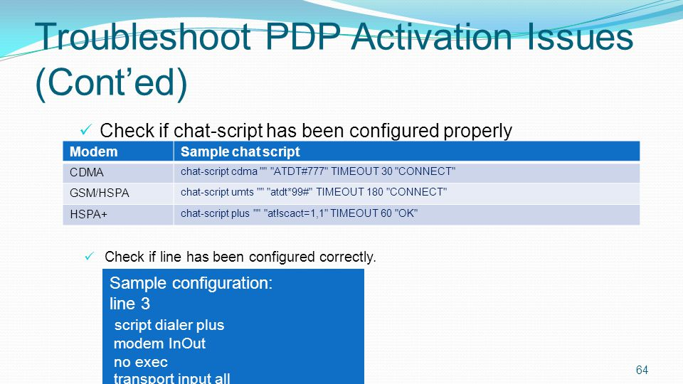 Troubleshoot PDP Activation Issues (Cont'ed)