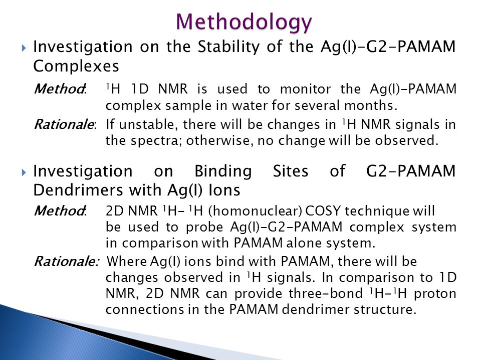 Methodology Investigation on the Stability of the Ag(I)-G2-PAMAM Complexes.