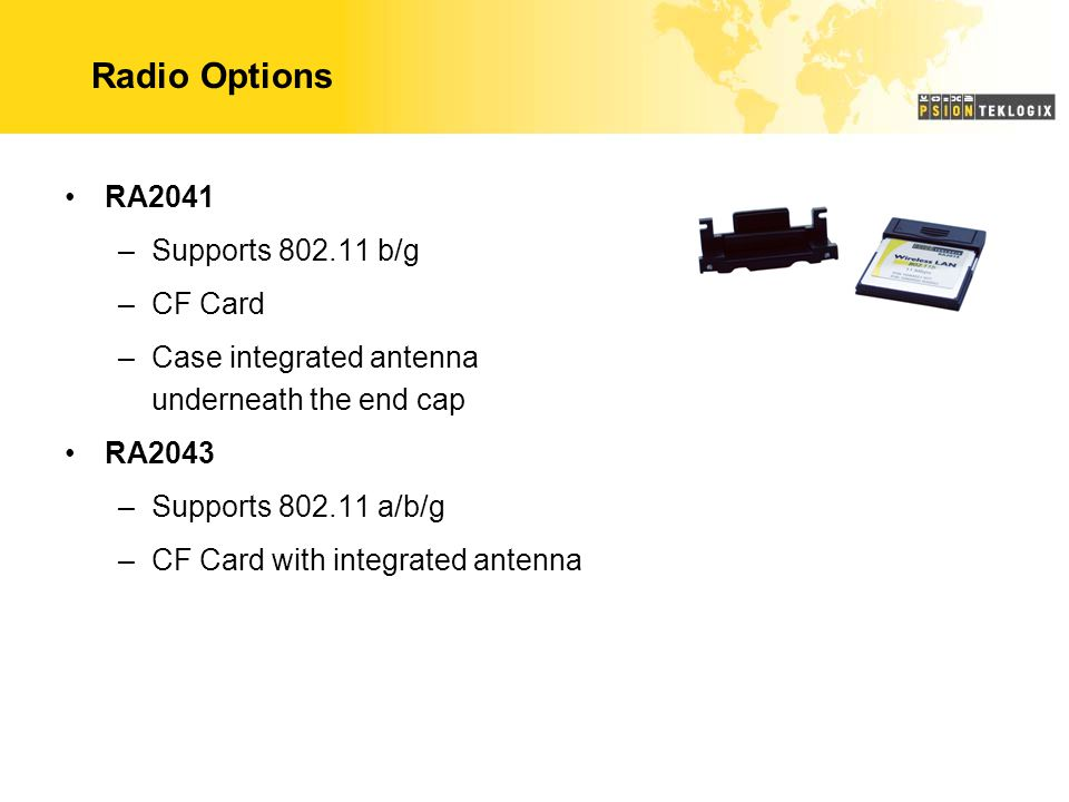 Radio Options RA2041 Supports 802.11 b/g CF Card