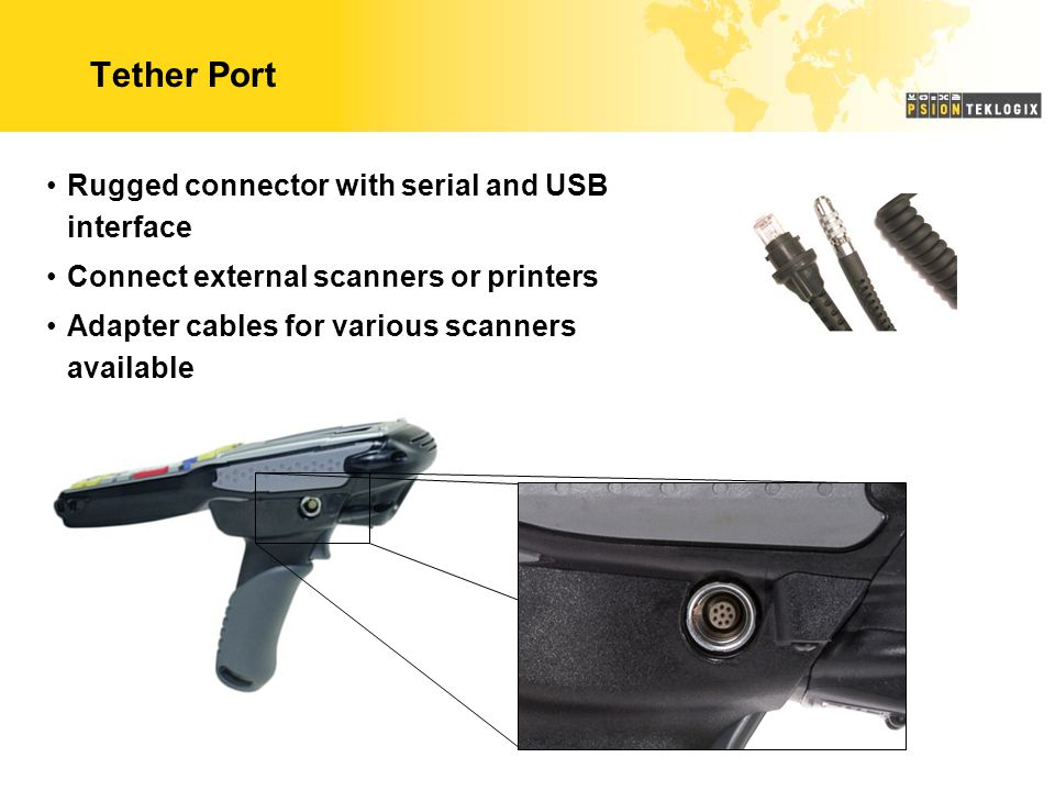 Tether Port Rugged connector with serial and USB interface