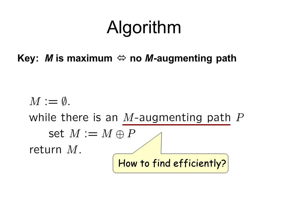 Algorithm Key: M is maximum  no M-augmenting path