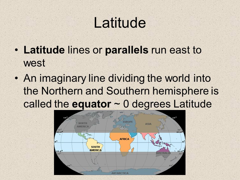 Latitude Latitude lines or parallels run east to west