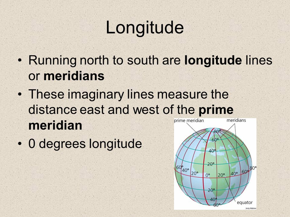 Longitude Running north to south are longitude lines or meridians