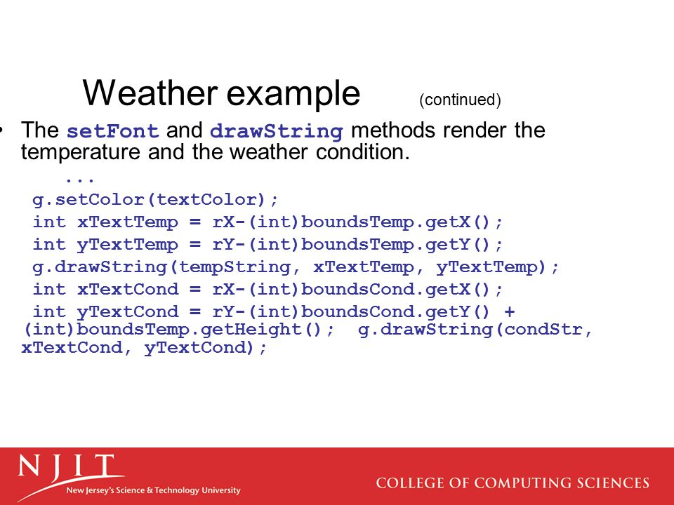 Weather example (continued)
