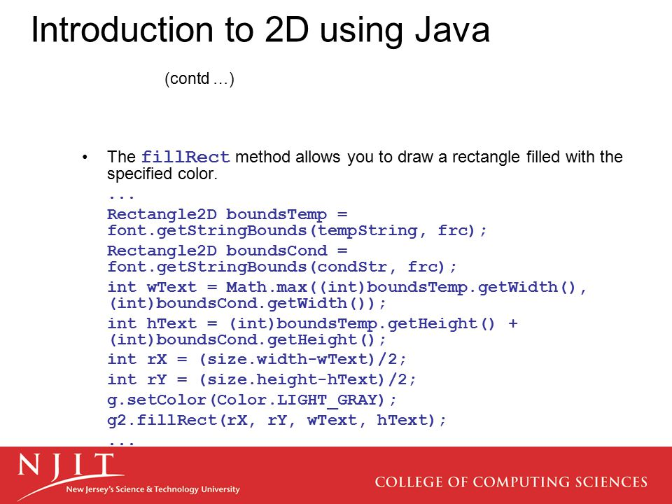 Introduction to 2D using Java (contd …)