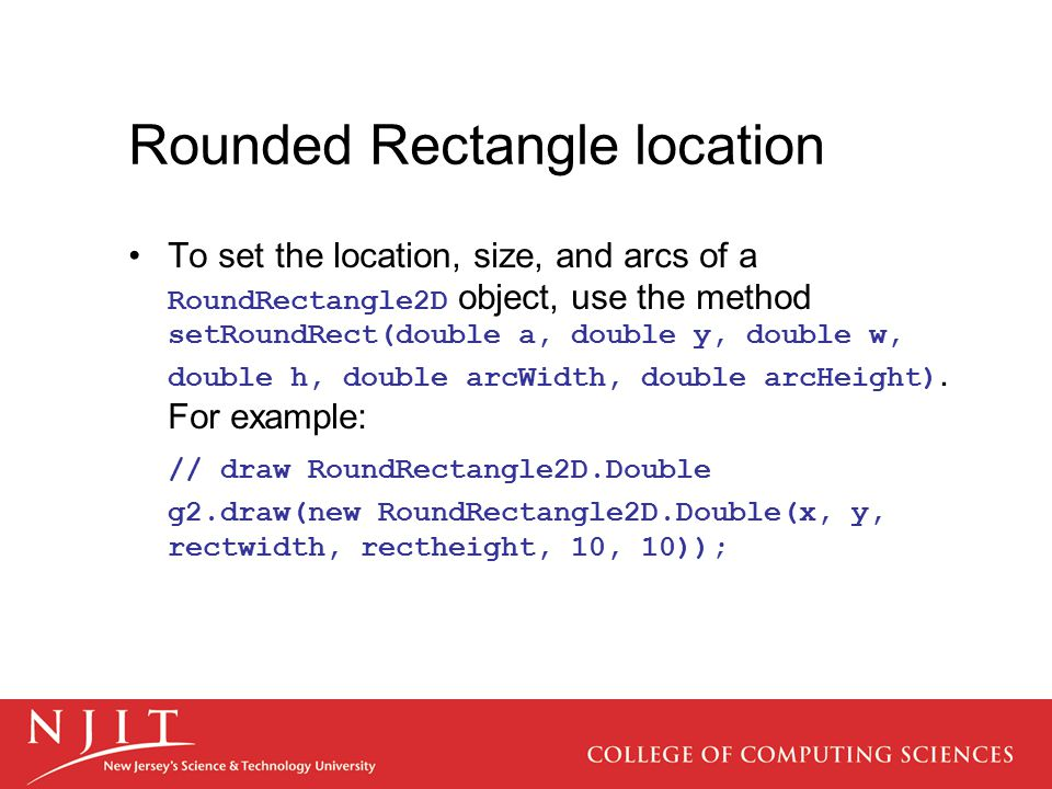Rounded Rectangle location