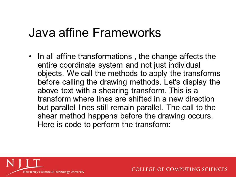 Java affine Frameworks