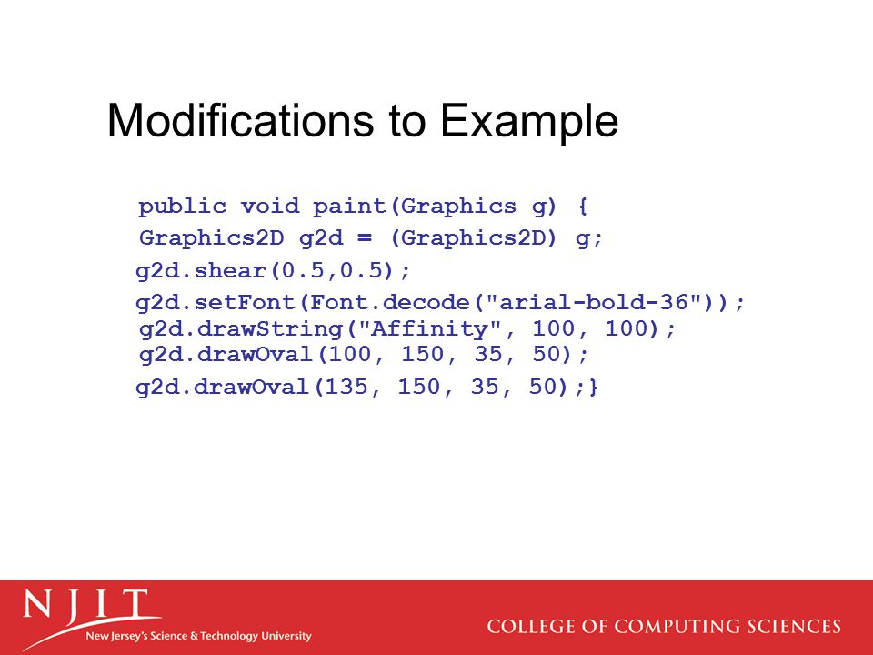Modifications to Example