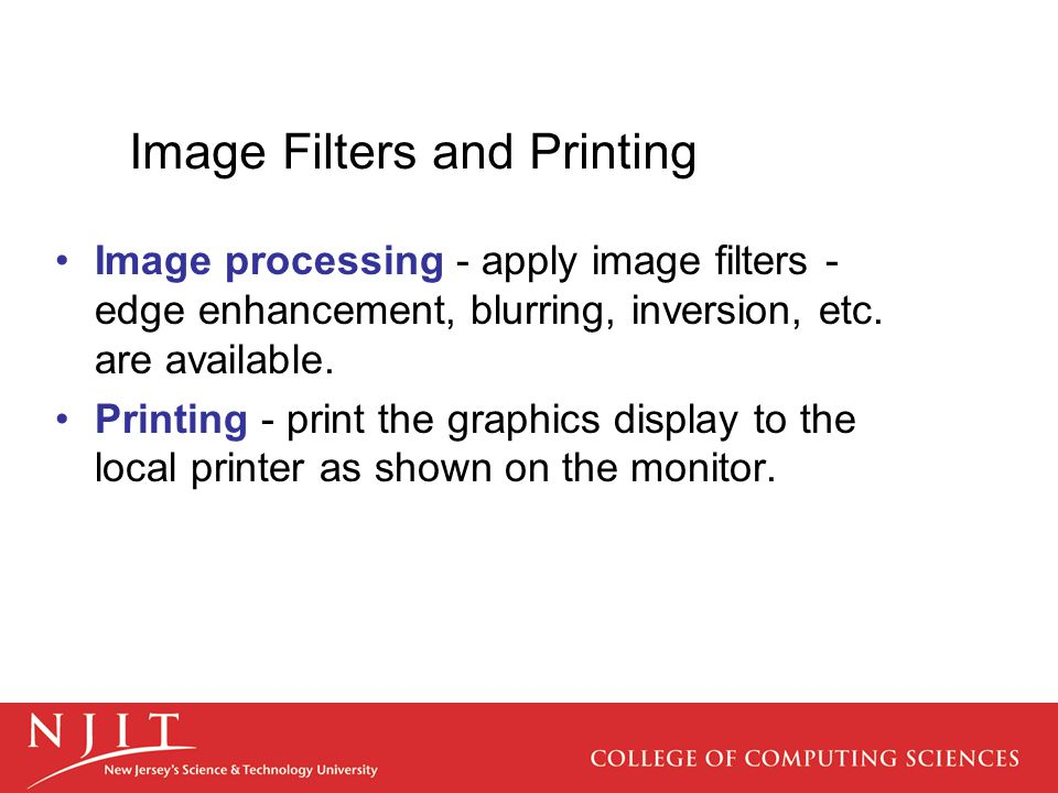 Image Filters and Printing