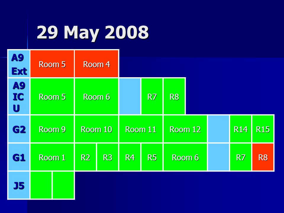 29 May 2008 A9 Ext A9 ICU G2 G1 J5 Room 5 Room 4 Room 6 R7 R8 Room 9